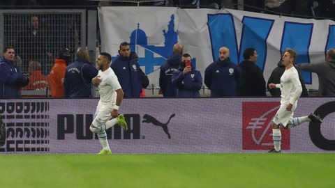 <p>               Marseille's Dimitri Payet celebrates scoring a penalty during the French League One soccer match between Marseille and Lyon at the Velodrome stadium in Marseille, southern France, Sunday, Nov. 10, 2019. (AP Photo/Daniel Cole)             </p>