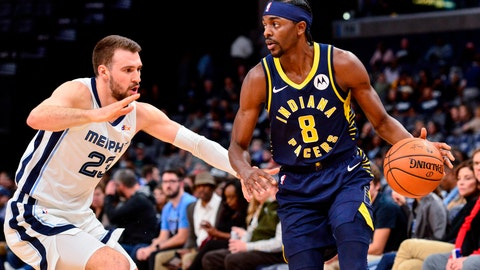 <p>               Indiana Pacers forward Justin Holiday (8) handles the ball against Memphis Grizzlies guard Marko Guduric (23) in the first half of an NBA basketball game Monday, Dec. 2, 2019, in Memphis, Tenn. (AP Photo/Brandon Dill)             </p>