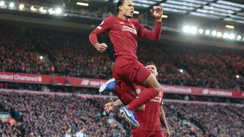 <p>               Liverpool's Virgil van Dijk celebrates after scoring during the English Premier League soccer match between Liverpool and Brighton at Anfield Stadium, Liverpool, England, Saturday, Nov. 30, 2019. (AP Photo/Jon Super)             </p>