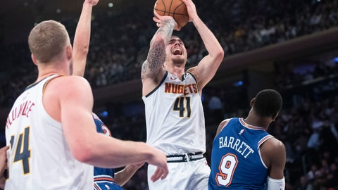 <p>               Denver Nuggets forward Juan Hernangomez (41) goes to the basket past New York Knicks forward RJ Barrett (9) during the first half of an NBA basketball game Thursday, Dec. 5, 2019, at Madison Square Garden in New York. (AP Photo/Mary Altaffer)             </p>