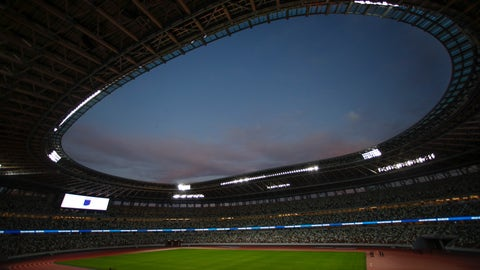 <p>               A general view of the new National Stadium is seen Sunday, Dec. 15, 2019, in Tokyo. The stadium is officially completed. (AP Photo/Jae C. Hong)             </p>