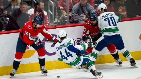 <p>               Washington Capitals center Chandler Stephenson (18), and defenseman Radko Gudas (33), from the Czech Republic, guard against Vancouver Canucks center Tyler Graovac (44) and left wing Tanner Pearson (70) during the first period of an NHL hockey game, Saturday, Nov. 23, 2019, in Washington. (AP Photo/Al Drago)             </p>