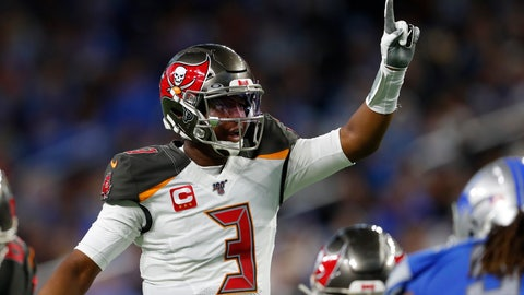 <p>               Tampa Bay Buccaneers quarterback Jameis Winston signals during the first half of an NFL football game against the Detroit Lions, Sunday, Dec. 15, 2019, in Detroit. (AP Photo/Paul Sancya)             </p>