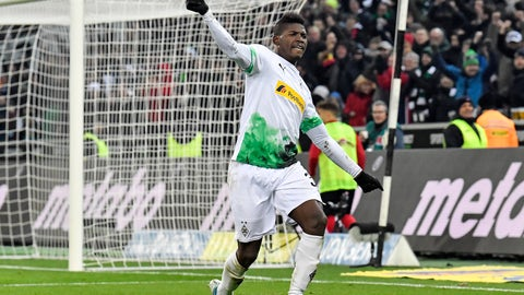 <p>               Moenchengladbach's Breel Embolo celebrates after their third goal by Hermann during the German Bundesliga soccer match between Borussia Moenchengladbach and SC Freiburg in Moenchengladbach, Germany, Sunday, Dec. 1, 2019. (AP Photo/Martin Meissner)             </p>