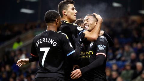 <p>               Manchester City's Gabriel Jesus, right, celebrates scoring his sides first goal of the game against Burnley, with teammates during their Premier League soccer match at Turf Moor in Burnley, England, Tuesday Dec. 3, 2019. (Martin Rickett/PA via AP)             </p>