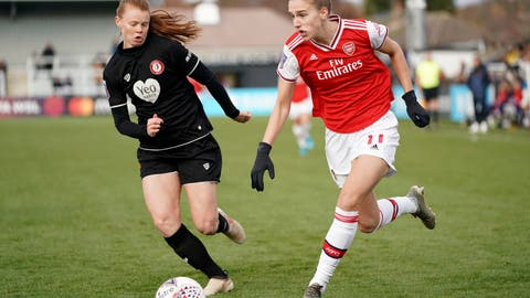 <p>               Arsenal's Vivianne Miedema, right, during the FA Women's Super League match against Bristol City at Meadow Park, Borehamwood, England, Sunday Dec. 1, 2019. (Tess Derry/PA via AP)             </p>