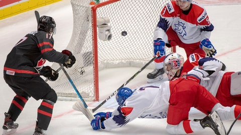 <p>               Canada's Connor McMichael scores Canada's fourth goal of the game as Czech Republic's Martin Has (7) goaltender Lukas Parik and Tomas Dajcar (9) look on during the first period at the World Junior Hockey Championships on Tuesday, Dec. 31, 2019 in Ostrava, Czech Republic. (Ryan Remiorz/The Canadian Press via AP)             </p>