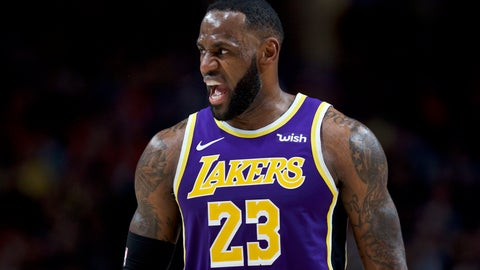 <p>               Los Angeles Lakers forward LeBron James reacts after scoring against the Portland Trail Blazers during the first half of an NBA basketball game in Portland, Ore., Friday, Dec. 6, 2019. (AP Photo/Craig Mitchelldyer)             </p>
