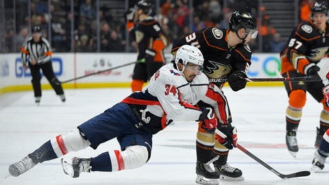 <p>               Washington Capitals defenseman Jonas Siegenthaler, left, and Anaheim Ducks center Sam Steel compete for the puck during the second period of an NHL hockey game Friday, Dec. 6, 2019, in Anaheim, Calif. (AP Photo/Mark J. Terrill)             </p>