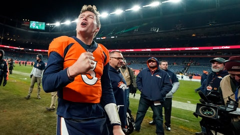 <p>               Denver Broncos quarterback Drew Lock reacts after an NFL football game against the Oakland Raiders, Sunday, Dec. 29, 2019, in Denver. (AP Photo/Jack Dempsey)             </p>