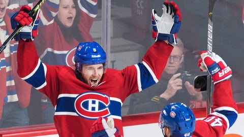 <p>               Montreal Canadiens' Ben Chiarot (8) celebrates with teammate Joel Armia after scoring during overtime in an NHL hockey game against the Ottawa Senators, Wednesday, Dec. 11, 2019 in Montreal. (Graham Hughes/The Canadian Press via AP)             </p>