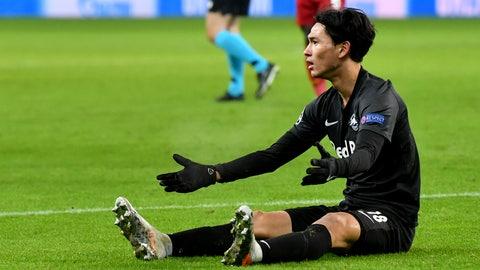 <p>               Salzburg's Takumi Minamino reacts during the group E Champions League soccer match between Salzburg and Liverpool, in Salzburg, Austria, Tuesday, Dec. 10, 2019. (AP Photo/Kerstin Joensson)             </p>