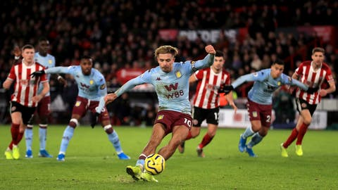 <p>               Aston Villa's Jack Grealish misses from the penalty spot during the English Premier League soccer match between Sheffield United and Aston Villa, at Bramall Lane, in Sheffield, England, Saturday, Dec. 14, 2019. (Mike Egerton/PA via AP)             </p>