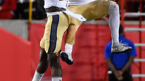 <p>               Navy safety Evan Fochtman (11) celebrates his interception with Noruwa Obanor during the second half of an NCAA college football game against Houston, Saturday, Nov. 30, 2019, in Houston. (AP Photo/Eric Christian Smith)             </p>