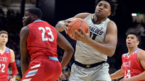 <p>               Colorado center Evan Battey, front, pulls in a rebound next to Loyola Marymount forward Jordan Bell during the first half of an NCAA college basketball game Wednesday, Dec. 4, 2019, in Boulder, Colo. (AP Photo/Cliff Grassmick)             </p>