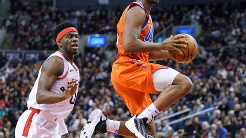 <p>               Oklahoma City Thunder Chris Paul (3) drives to the basket through the defense of Toronto Raptors Terence Davis II (0) during fourth quarter NBA basketball action in Toronto on Sunday, Dec. 29, 2019. (Hans Deryk/The Canadian Press via AP)             </p>