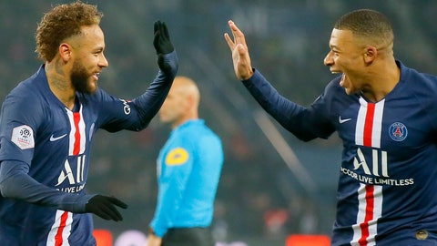 <p>               PSG's Neymar, left, celebrates with PSG's Kylian Mbappe after scoring his side's opening goal during the French League One soccer match between PSG and Nantes at the Parc des Princes stadium in Paris, Wednesday, Dec. 4, 2019. The goal was disallowed on a VAR (video assistant referee) decision.(AP Photo/Michel Euler)             </p>