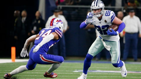 <p>               Buffalo Bills cornerback Taron Johnson (24) defends asDallas Cowboys tight end Jason Witten (82) looks for running room after catching a pass in the first half of an NFL football game in Arlington, Texas, Thursday, Nov. 28, 2019. (AP Photo/Ron Jenkins)             </p>
