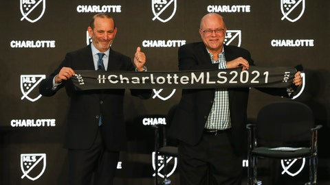 <p>               Major League Soccer Commissioner Don Garber, left, and Charlotte MLS team owner David Tepper announce that Major League Soccer will be coming to Charlotte in 2021 at an event in Charlotte, N.C., Tuesday, Dec. 17, 2019. (AP Photo/Nell Redmond             </p>