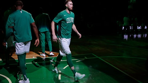 <p>               Boston Celtics forward Gordon Hayward is introduced in the starting line up prior to the first half of an NBA basketball game against the Cleveland Cavaliers in Boston, Monday, Dec. 9, 2019. Hayward returned to play after breaking his left hand in early November. (AP Photo/Charles Krupa)             </p>