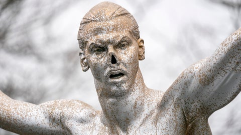 """<p>               In this photo taken on Sunday, Dec. 22, 2019, the defaced statue of Zlatan Ibrahimovic is seen in Malmo, Sweden. The statue of Swedish soccer star Zlatan Ibrahimovic has been the target of more vandalism. This time, its nose has been chopped off. Ibrahimovic angered fans of his boyhood club, Malmo, last month when he bought a stake in one of its title rivals, Hammarby, and outlined his desire to make the Stockholm-based team """"the best in Scandinavia."""" (Johan Nilsson/TT News Agency via AP)             </p>"""