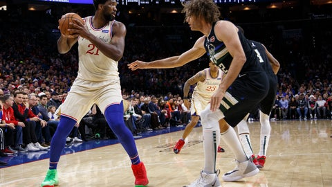 <p>               Philadelphia 76ers' Joel Embiid, left, looks to make his move on Milwaukee Bucks' Robin Lopez, right, during the first half of an NBA basketball game, Wednesday, Dec. 25, 2019, in Philadelphia. (AP Photo/Chris Szagola)             </p>