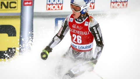 <p>               The Czech Republic's Ester Ledecka reacts in the finish area following her run in the women's World Cup downhill ski race at Lake Louise, Alberta, Friday, Dec. 6, 2019. (Jeff McIntosh/The Canadian Press via AP)             </p>