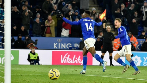 <p>               Leicester's Kelechi Iheanacho, center, celebrates after scoring his side's second goal during the English Premier League soccer match between Leicester City and Everton at the King Power Stadium in Leicester, England, Sunday, Dec. 1, 2019. (AP Photo/Rui Vieira)             </p>