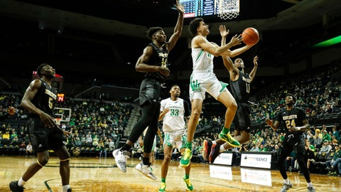 <p>               Oregon guard Will Richardson (0), shoots against Alabama State during the first half of an NCAA college basketball game Sunday, Dec. 29, 2019, in Eugene, Ore. (AP Photo/Thomas Boyd)             </p>