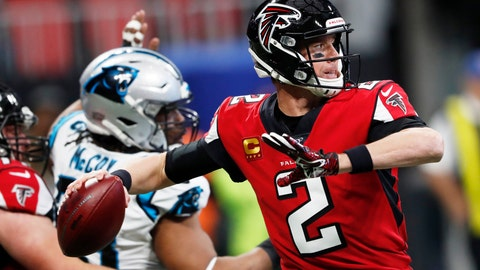 <p>               Atlanta Falcons quarterback Matt Ryan (2) works in the pocket against the Carolina Panthers during the first half of an NFL football game, Sunday, Dec. 8, 2019, in Atlanta. (AP Photo/John Bazemore)             </p>