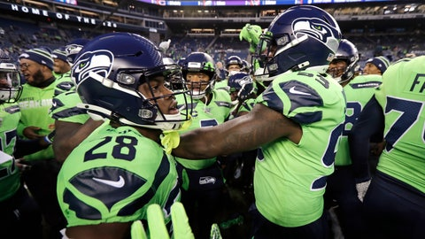<p>               With quarterback Russell Wilson at the center, Seattle Seahawks huddle before an NFL football game against the Minnesota Vikings, Monday, Dec. 2, 2019, in Seattle. (AP Photo/Ted S. Warren)             </p>