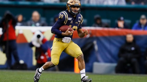 <p>               Navy quarterback Malcolm Perry run the ball during the first half of an NCAA college football game against Army, Saturday, Dec. 14, 2019, in Philadelphia. (AP Photo/Matt Slocum)             </p>