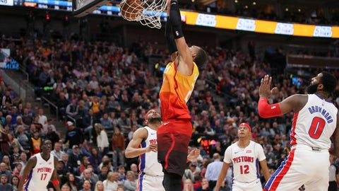 <p>               Utah Jazz center Rudy Gobert (27) dunks the basketball with Detroit Pistons guard Bruce Brown (6) watching during the third quarter of an NBA basketball game, Monday, Dec. 30, 2019, in Salt Lake City. The Utah Jazz won 104-81. (AP Photo/Chris Nicoll)             </p>