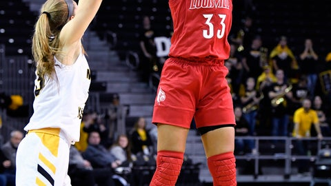<p>               Louisville forward Bionca Dunham (33) shoots over the defense of Northern Kentucky forward Kailey Coffey (23) during the first half of an NCAA college basketball game in Highland Heights, Ky., Sunday, Dec. 8, 2019. (AP Photo/Timothy D. Easley)             </p>