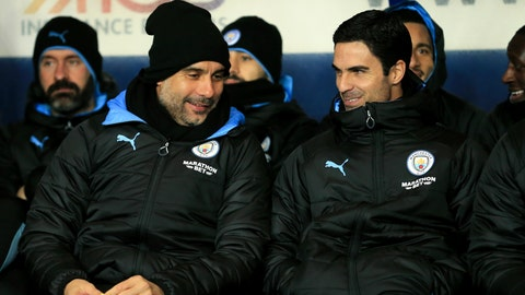 <p>               Manchester City's head coach Pep Guardiola and Mikel Arteta converse before the EFL Carabao Cup quarter finals soccer match between Oxford United and Manchester City at the Kassam Stadium, England, in Oxford, England, Wednesday, Dec. 18, 2019. (AP Photo/Leila Coker)             </p>