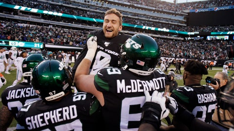 <p>               New York Jets kicker Sam Ficken (9) reacts with teammates after kicking the winning field goal during an NFL football game against the Miami Dolphins, Sunday, Dec. 8, 2019, in East Rutherford, N.J. (AP Photo/Adam Hunger)             </p>