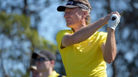 <p>               Bernhard Langer, front, of Germany, tees off on the eighth hole as his son, Jason Donald Langer, watches during the first round of the Father Son Challenge golf tournament Saturday, Dec. 7, 2019, in Orlando, Fla. (AP Photo/Phelan M. Ebenhack)             </p>