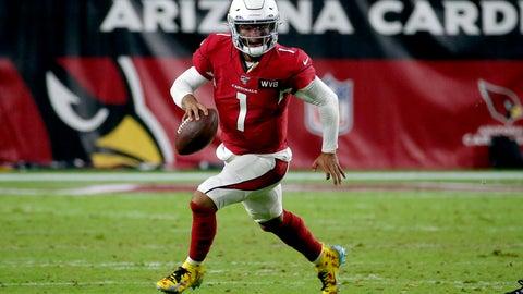<p>               Arizona Cardinals quarterback Kyler Murray (1) scrambles against the Pittsburgh Steelers during the second half of an NFL football game, Sunday, Dec. 8, 2019, in Glendale, Ariz. (AP Photo/Rick Scuteri)             </p>