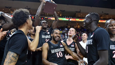 <p>               San Diego State guard KJ Feagin (10) and the team celebrate with the Las Vegas Invitational championship trophy after defeating Iowa in an NCAA college basketball game Friday, Nov. 29, 2019, in Las Vegas. (AP Photo/David Becker)             </p>