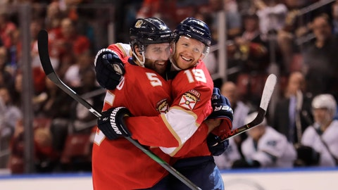 <p>               Florida Panthers' Mike Matheson (19) celebrates with teammate Aaron Ekblad (5) after scoring a goal during the second period of an NHL hockey game against the San Jose Sharks, Sunday, Dec. 8, 2019, in Sunrise, Fla. (AP Photo/Luis M. Alvarez)             </p>