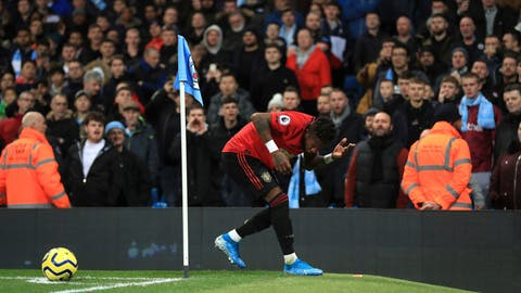 <p>               Manchester United's Fred reacts after objects are thrown at him during the English Premier League soccer match at the Etihad Stadium, Manchester, England Saturday Dec. 7, 2019. (Mike Egerton/PA via AP)             </p>