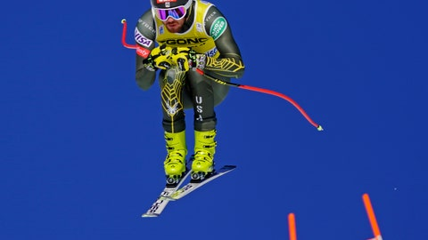 <p>               Bryce Bennett of the United States skis down the course during the men's World Cup downhill ski race in Lake Louise, Alberta, Canada, on Saturday, Nov. 30, 2019. (Frank Gunn/The Canadian Press via AP)             </p>
