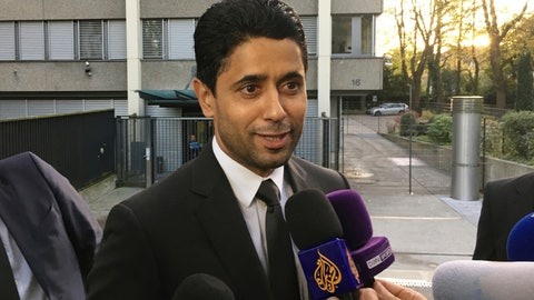 <p>               FILE - In this Wednesday Oct. 25, 2017 file photo, Paris Saint-Germain president Nasser Al-Khelaifi speaks to the media after a meeting today with Swiss prosecutors in Bern, Switzerland. Al-Khelaifi has been questioned again by Swiss federal prosecutors in a two-year investigation into allegations he bribed a FIFA official. The office of Switzerland's attorney general said on Monday, Dec. 2, 2019 al-Khelaifi, former FIFA secretary general Jerome Valcke and an unidentified businessman presented themselves for questioning in the Swiss capital. (AP Photo/Graham Dunbar, file)             </p>