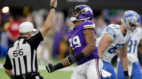 <p>               Minnesota Vikings defensive end Danielle Hunter (99) celebrates after sacking Detroit Lions quarterback David Blough during the first half of an NFL football game, Sunday, Dec. 8, 2019, in Minneapolis. (AP Photo/Andy Clayton-King)             </p>