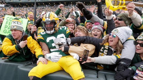 <p>               Green Bay Packers' Aaron Jones celebrates with fans after running for a touchdown during the first half of an NFL football game against the Washington Redskins Sunday, Dec. 8, 2019, in Green Bay, Wis. (AP Photo/Morry Gash)             </p>