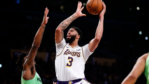 <p>               Los Angeles Lakers' Anthony Davis (3) shoots against Minnesota Timberwolves' Jordan Bell (7) during the first half of an NBA basketball game, Sunday, Dec. 8, 2019, in Los Angeles. (AP Photo/Ringo H.W. Chiu)             </p>
