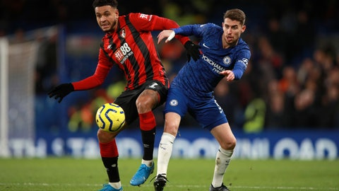 <p>               Bournemouth's Joshua King, left, duels for the ball with Chelsea's Jorginho during the English Premier League soccer match between Chelsea and Bournemouth, at Stamford Bridge in London, Saturday, Dec. 14, 2019. (AP Photo/Ian Walton)             </p>