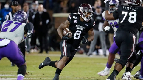 <p>               Mississippi State running back Kylin Hill (8) runs for a first down against Abilene Christian during the first half of an NCAA college football game, Saturday, Nov. 23, 2019, in Starkville, Miss. (AP Photo/Rogelio V. Solis)             </p>