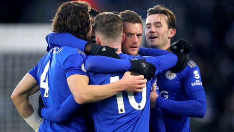 <p>               Leicester City's Jamie Vardy, 2nd right, celebrates after Norwich City goalkeeper Tim Krul scored an own goal, during their English Premier League soccer match at King Power Stadium in Leicester, England, Saturday Dec. 14, 2019. (Nick Potts/PA via AP)             </p>