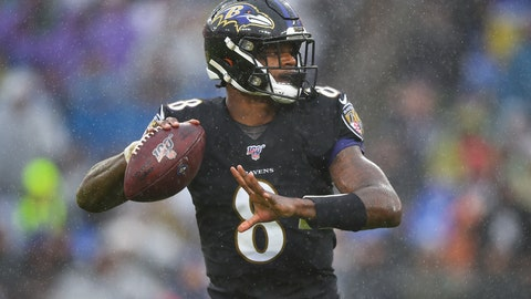 <p>               Baltimore Ravens quarterback Lamar Jackson (8) looks downfield to pass the ball against San Francisco 49ers in the first half of an NFL football game, Sunday, Dec. 1, 2019, in Baltimore, Md. (AP Photo/Gail Burton)             </p>